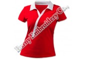 Ladies Red Short Sleeve Polyester Cotton T-Shirts Polo Shirts